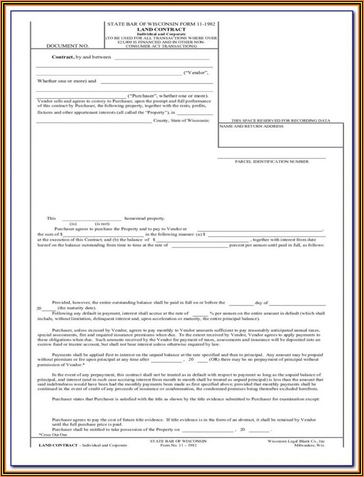 Wisconsin Land Contract Form 2019