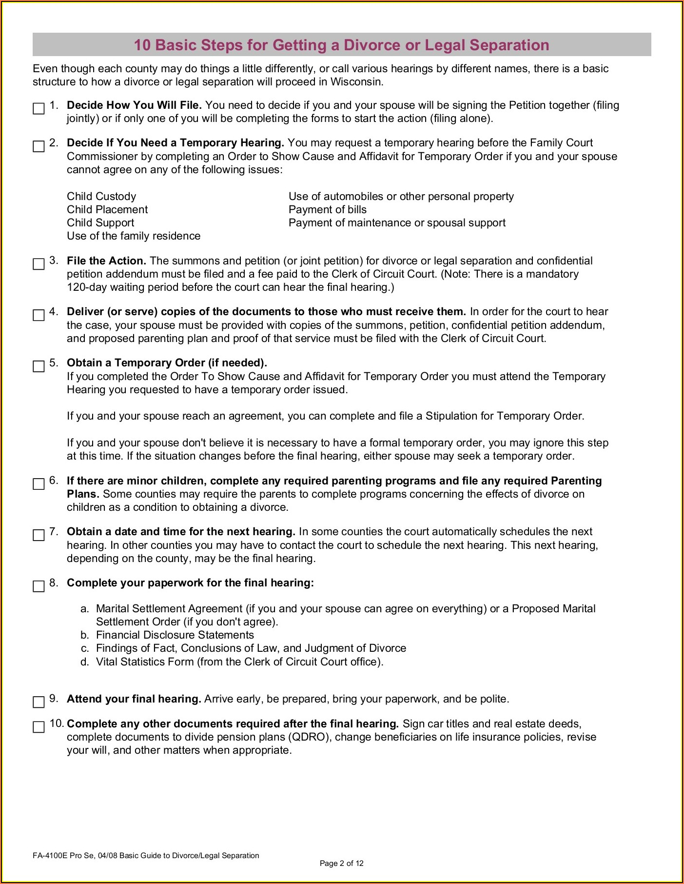 Wisconsin Legal Separation Paperwork