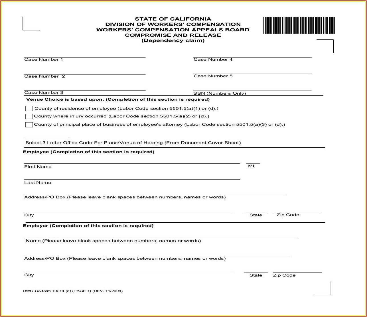 Workers Comp Forms California