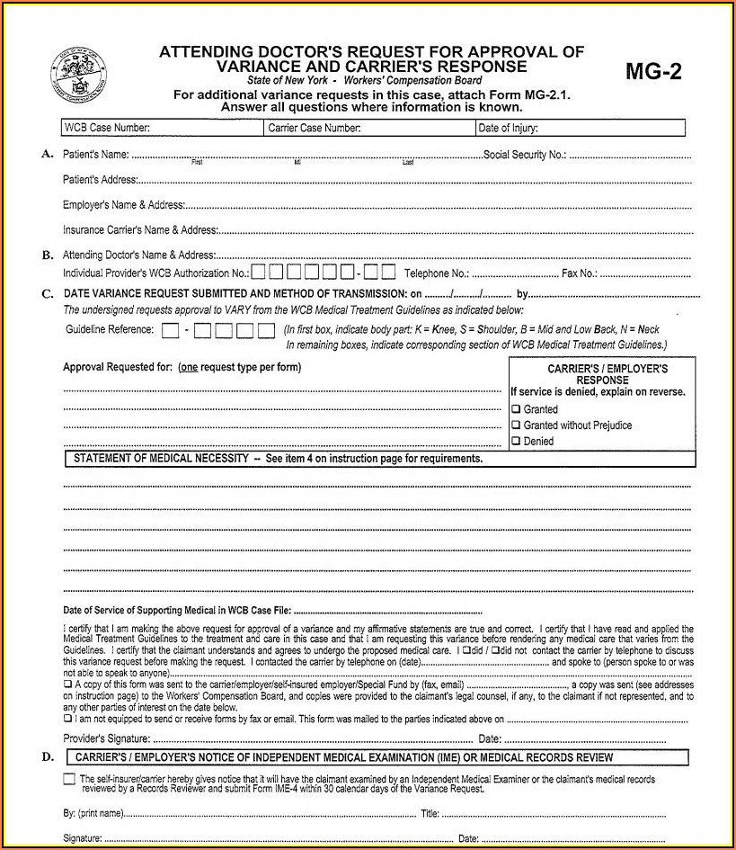 Workers Comp Forms Ny