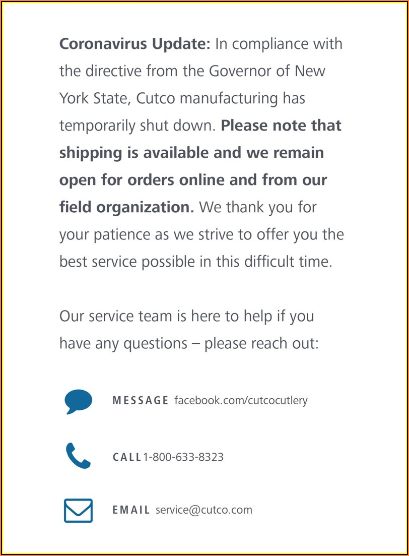 Www Cutco Com Service Request Form