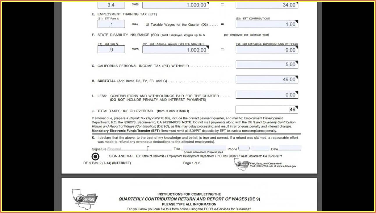 Www.edd.ca.gov Forms De9