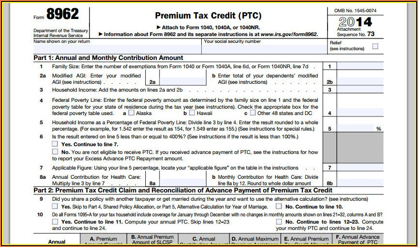 Www.healthcare.gov Form 8962