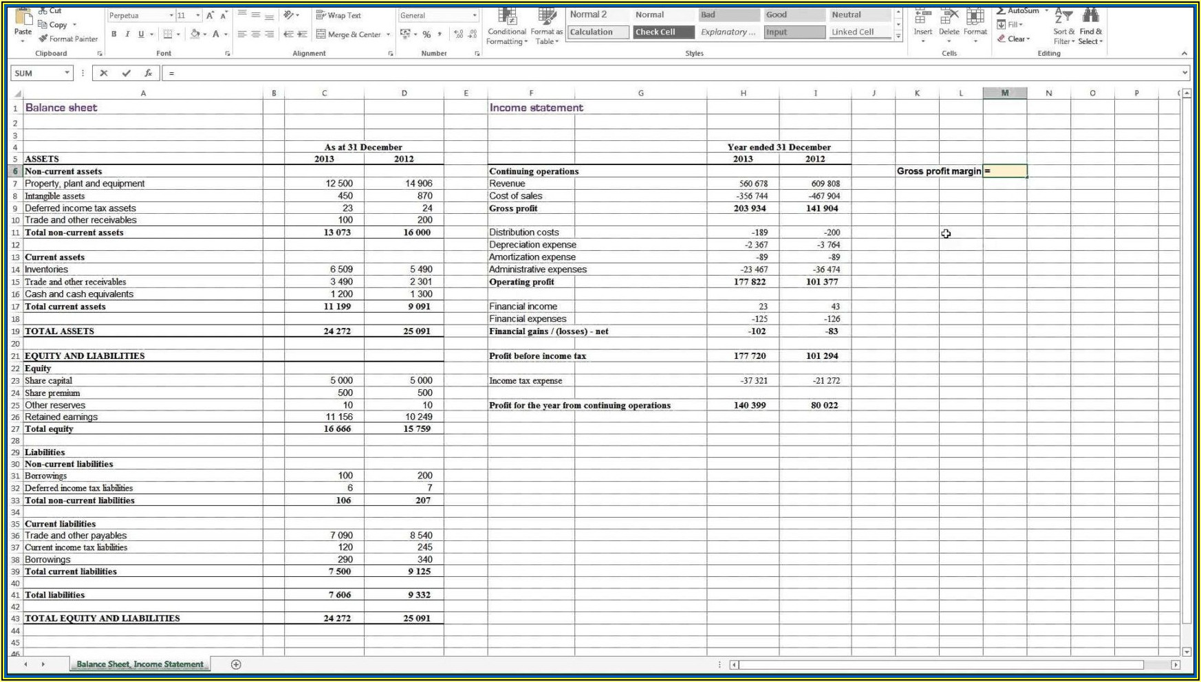 Editable Balance Sheet Template