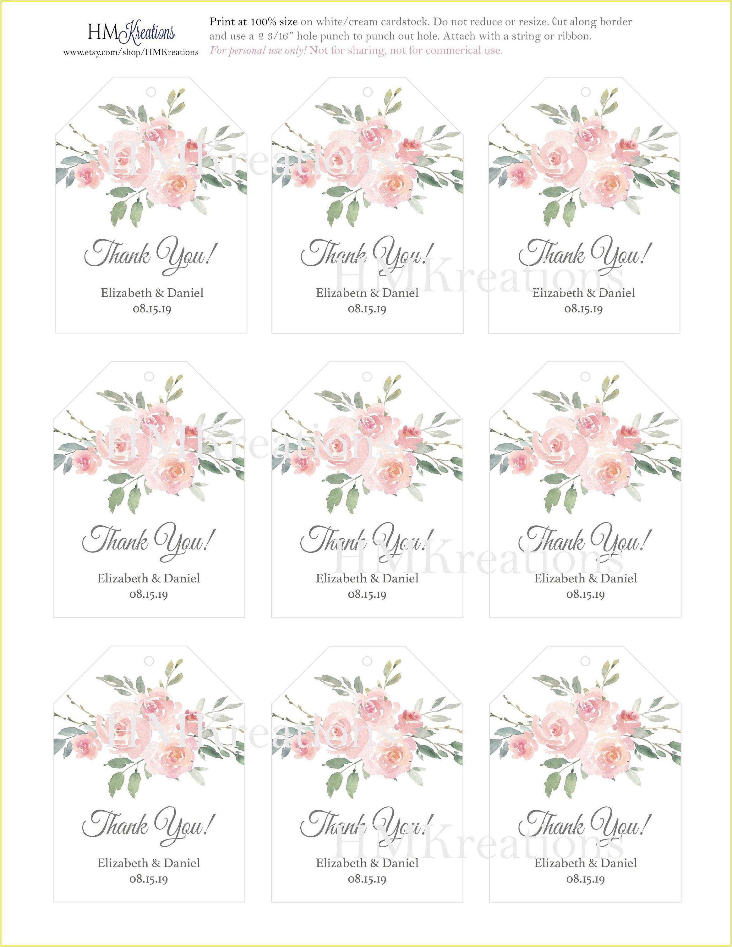Editable Wedding Favor Tags Template Free