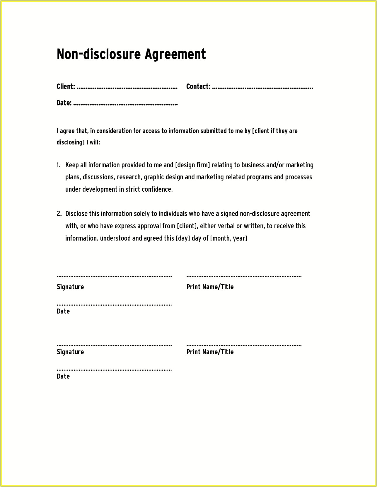 Employee Confidentiality Agreement Template Canada