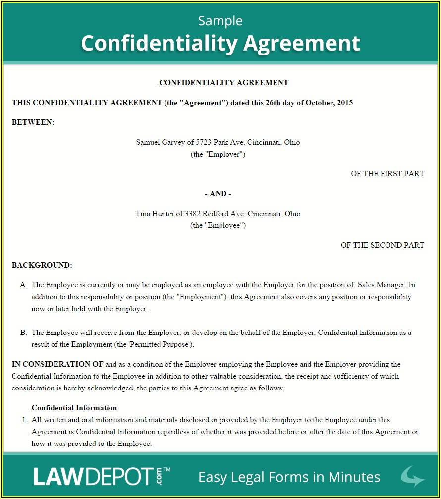 Employee Non Disclosure Agreement Template