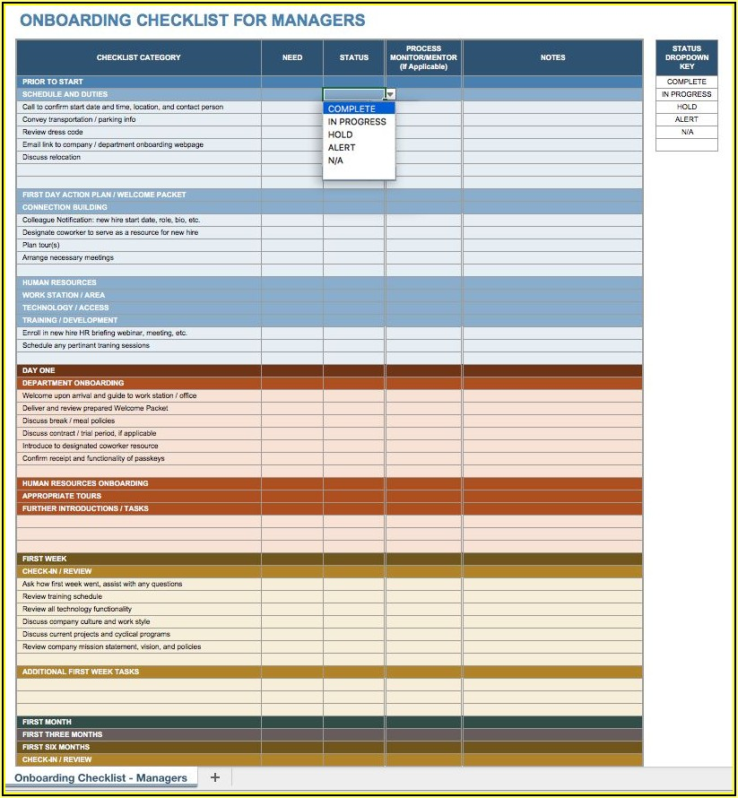 Employee Onboarding Checklist Template Excel