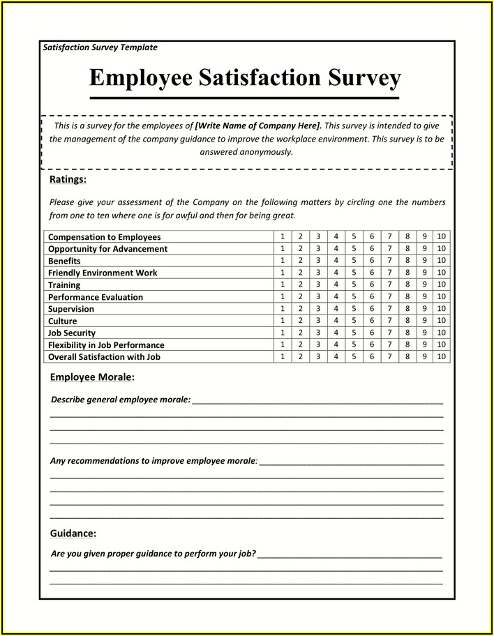 Employee Satisfaction Survey Template
