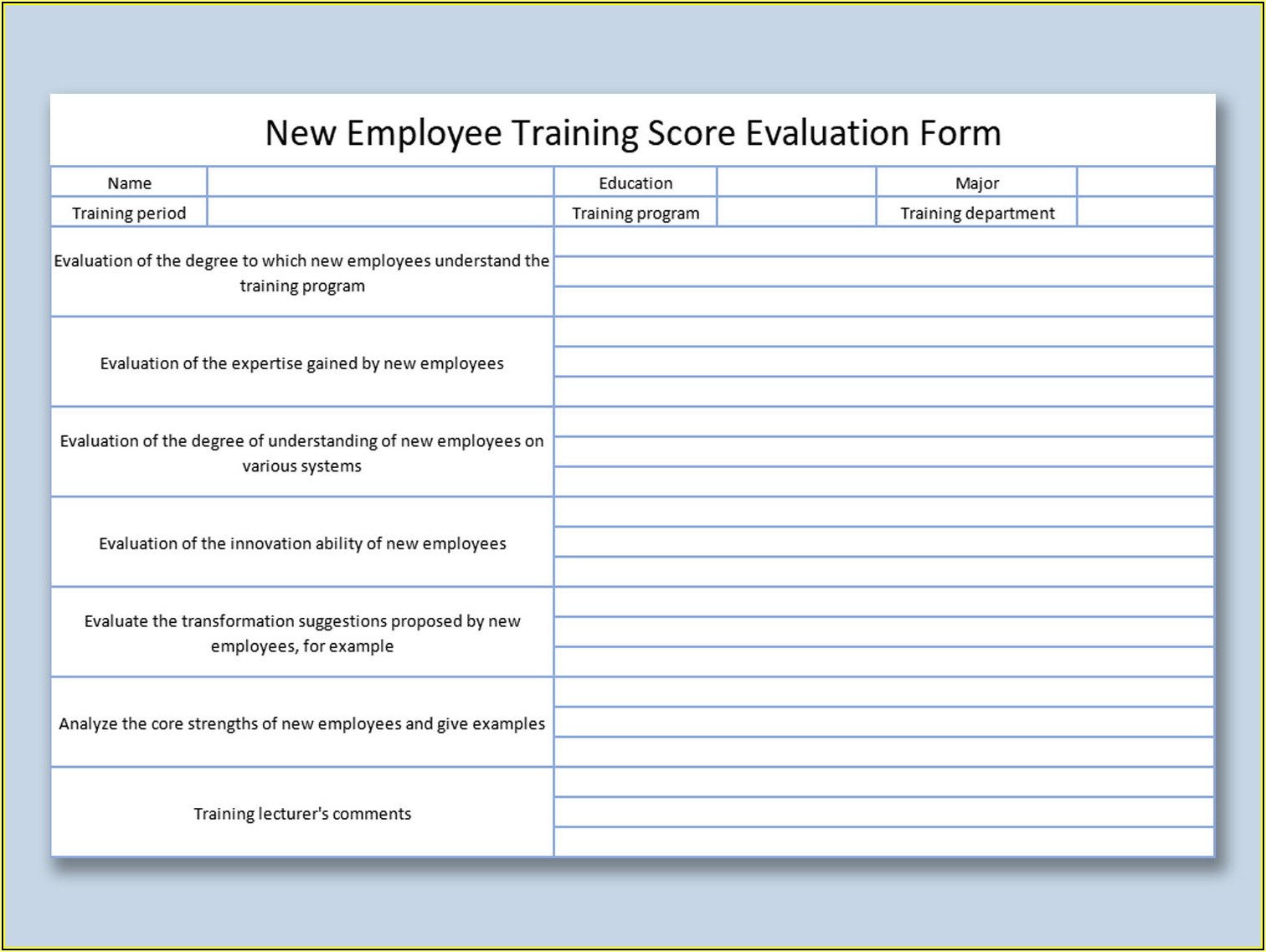 Employee Training Plan Template Excel Free Download