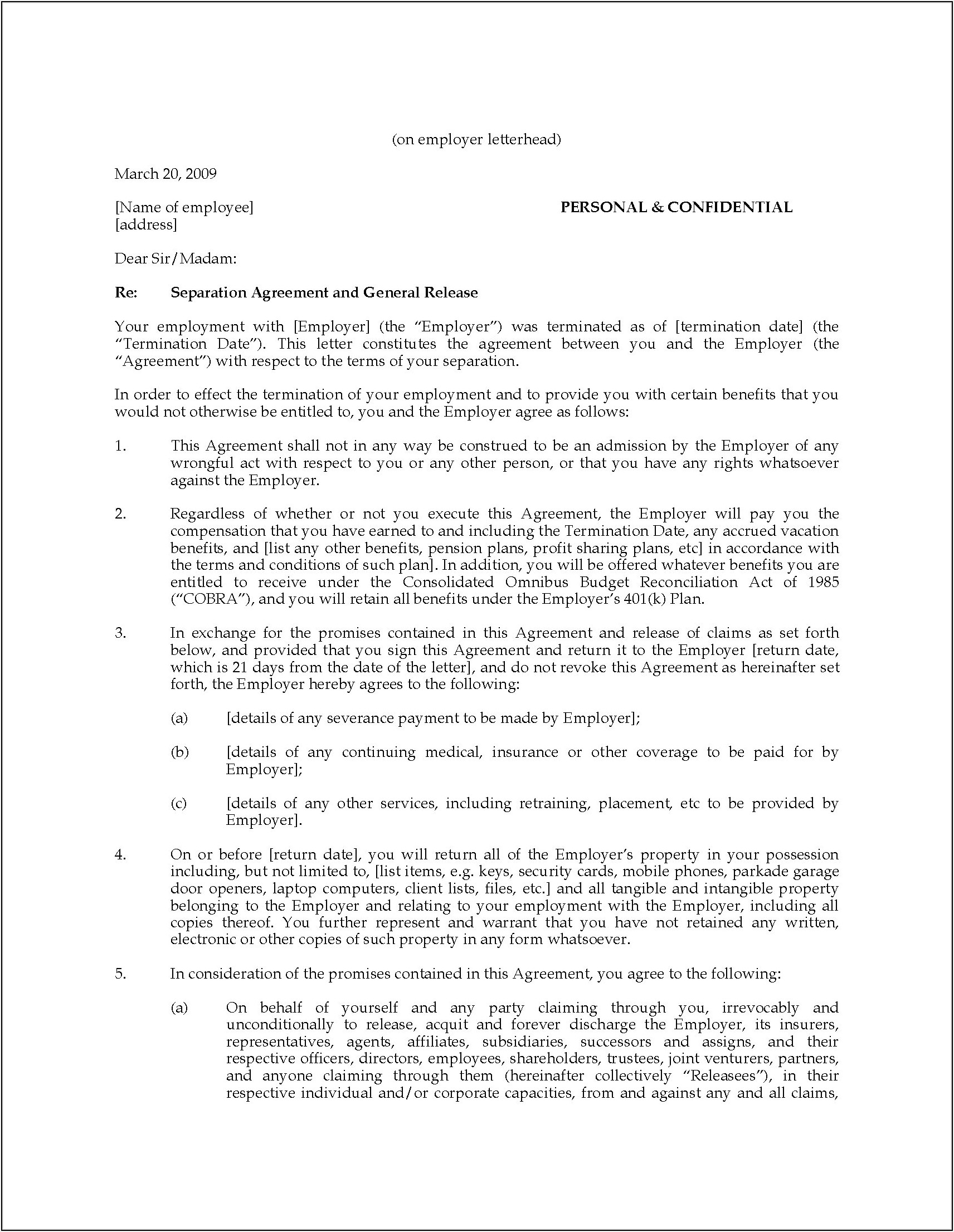 Employment Separation Agreement Template Nc