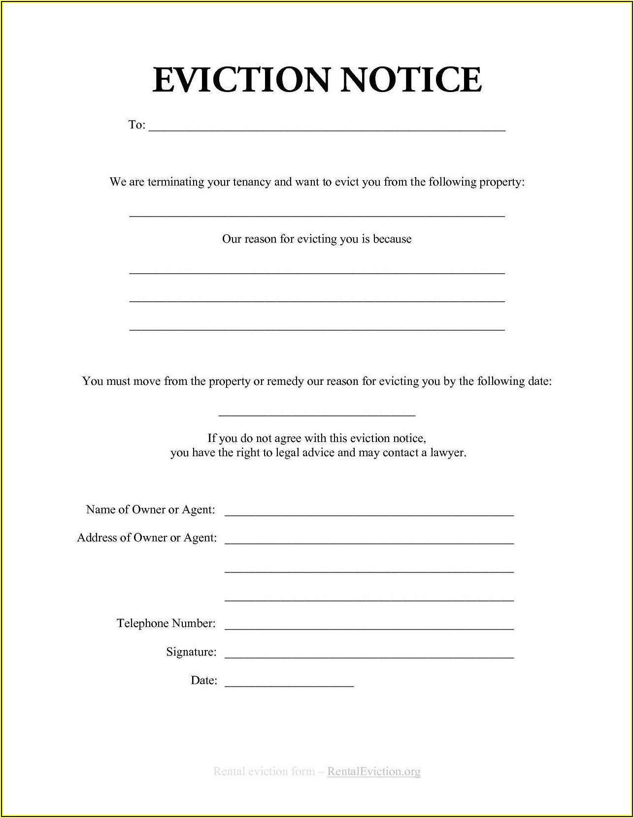 Eviction Notice Template Microsoft Word