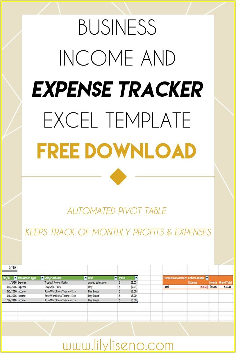 Expense Tracker Excel Template Free