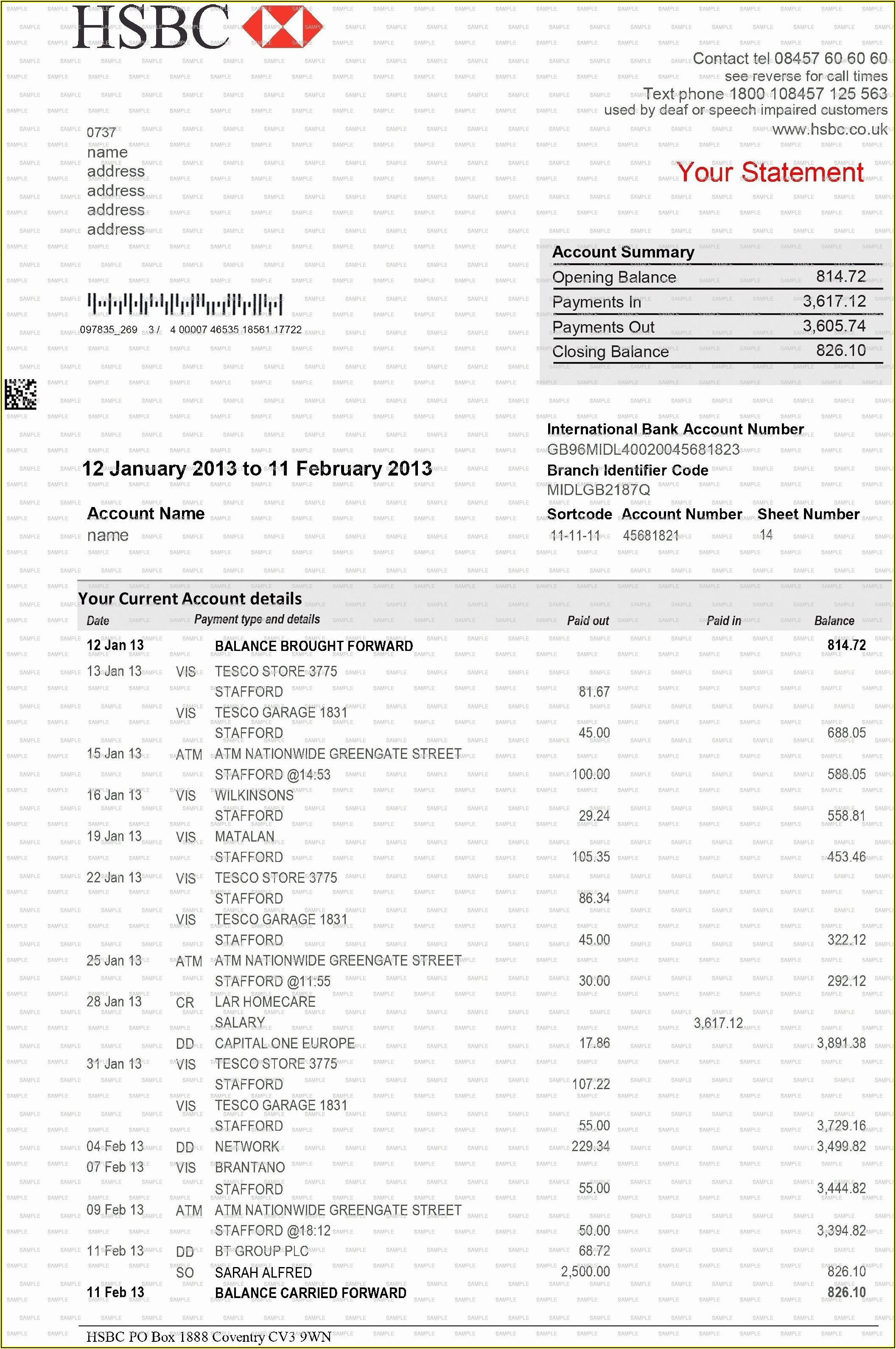 Fake Hsbc Bank Statement Template Download