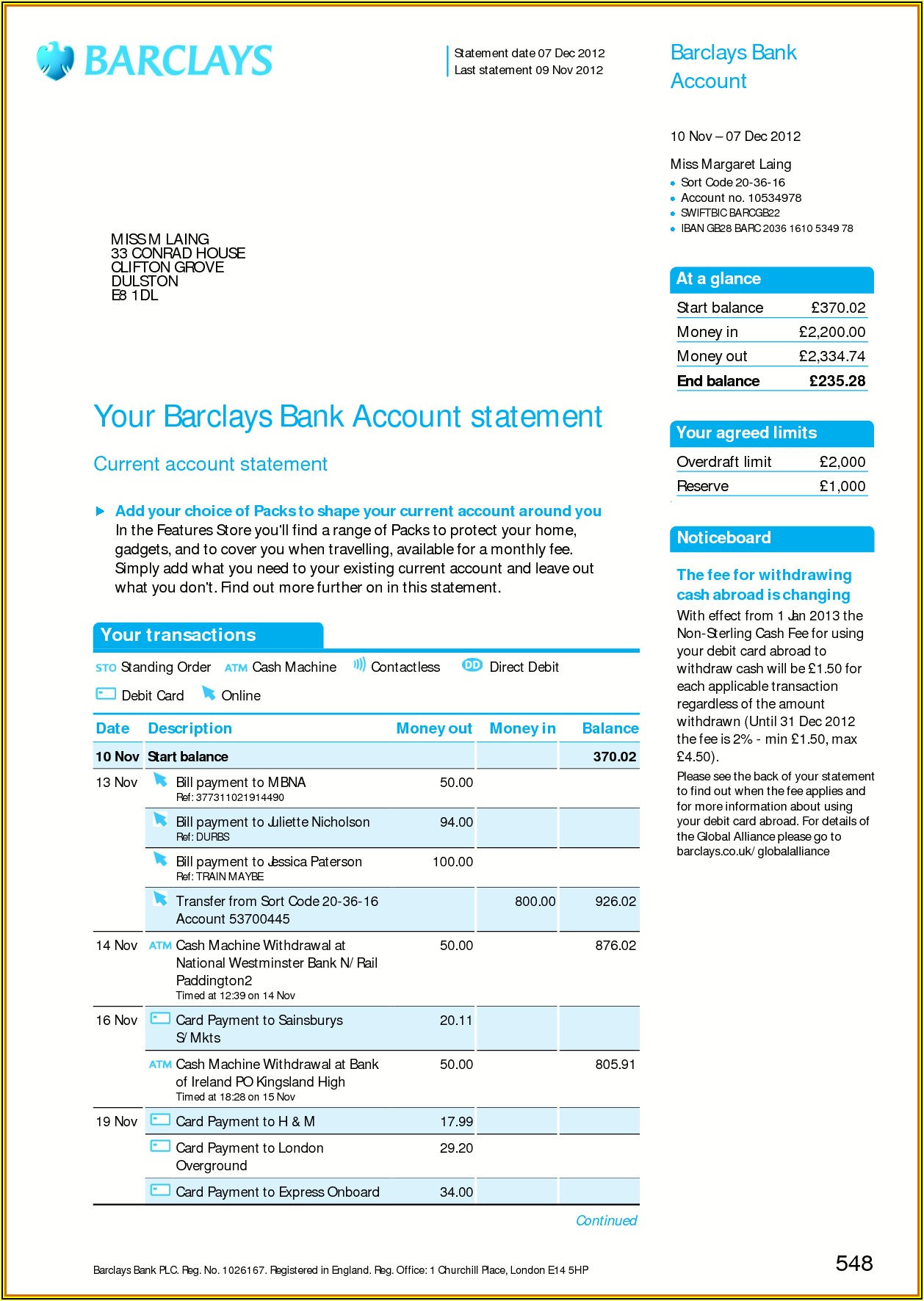 Fake Lloyds Bank Statement Template Download