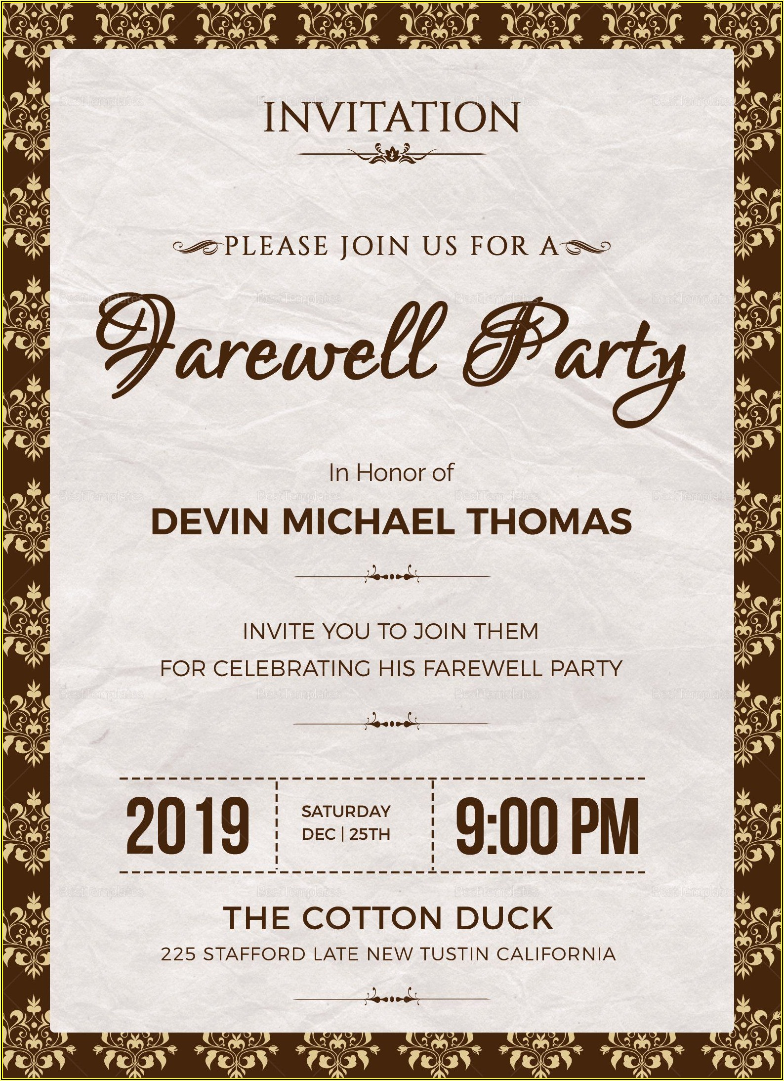 Farewell Party Invitation Template Free Word