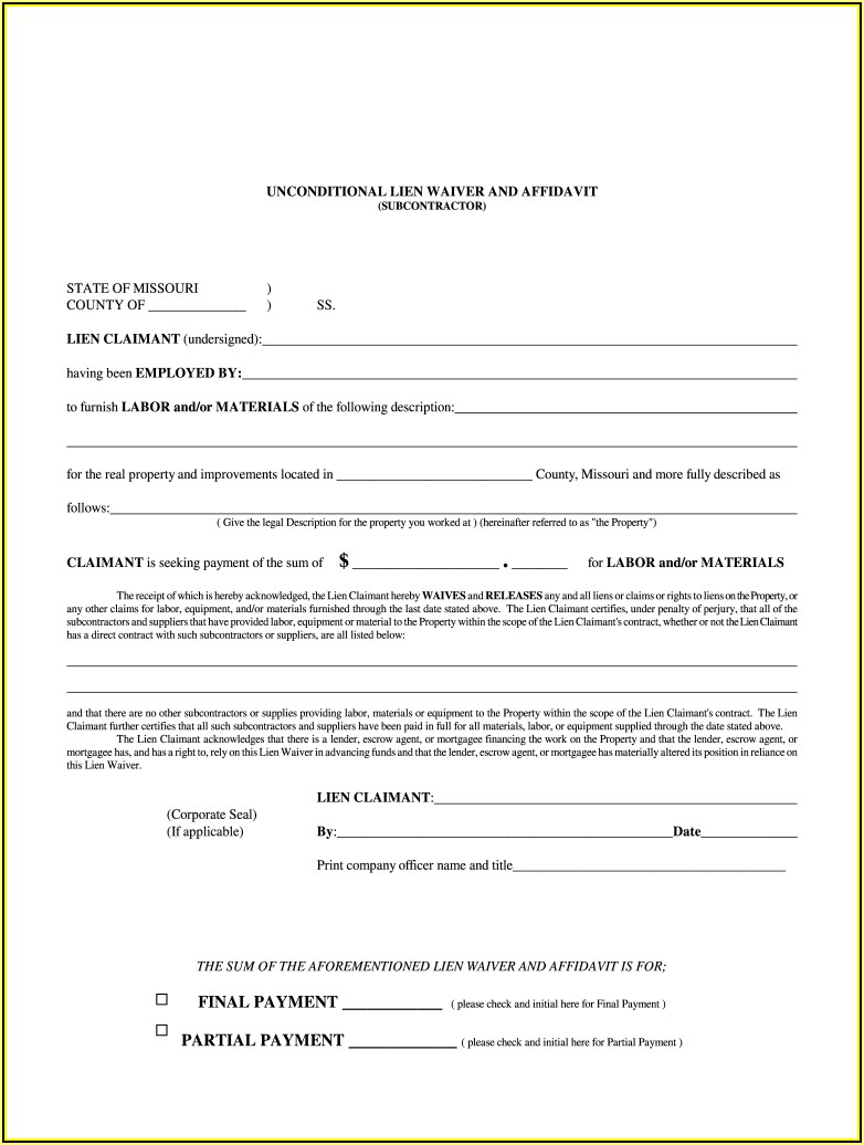 Final Lien Waiver Form Missouri