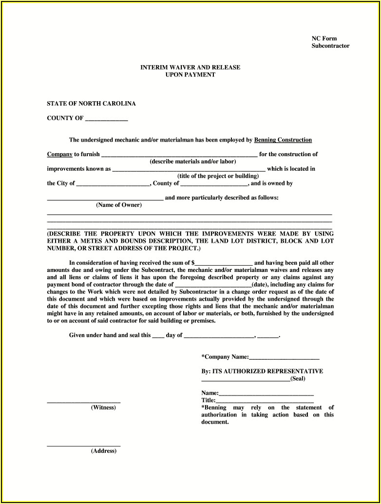 Final Lien Waiver Form North Carolina