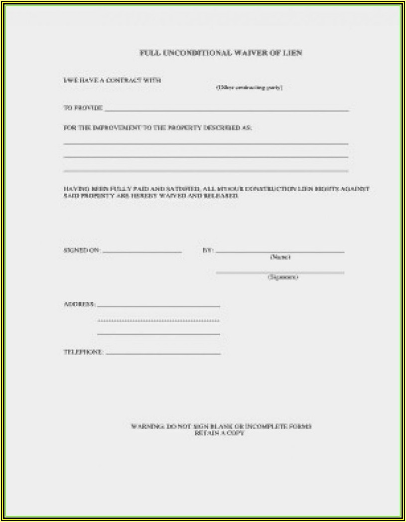 Final Lien Waiver Form Wisconsin