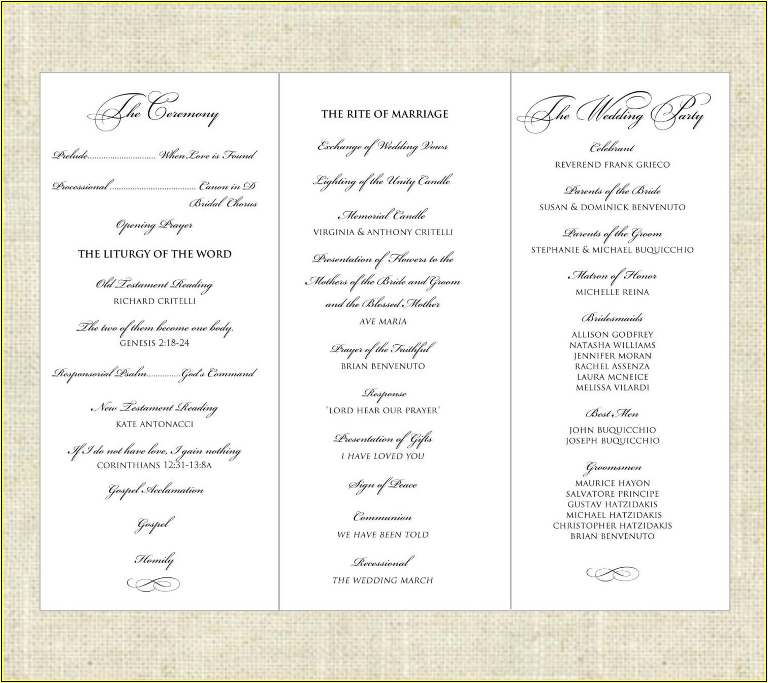 Foldable Wedding Program Templates
