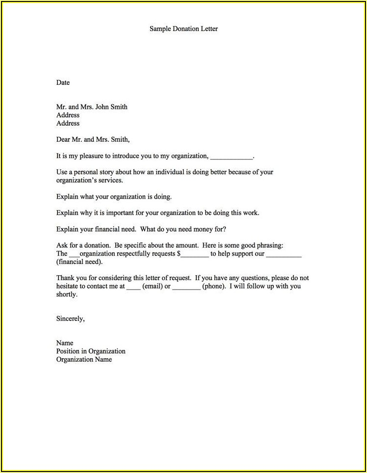 Form Letter For Nonprofit Donations