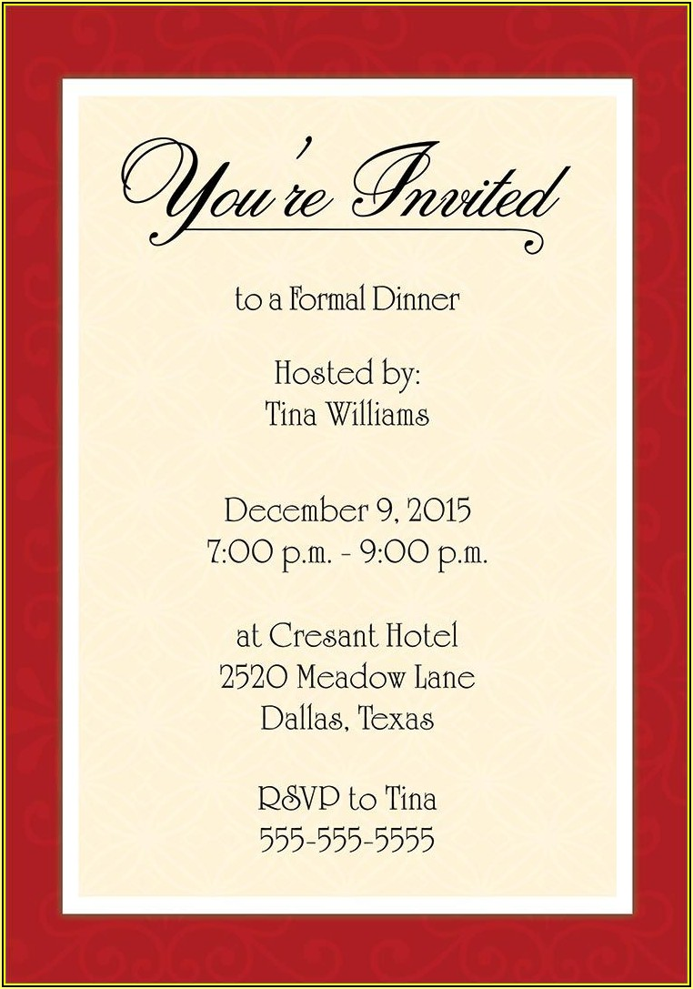 Formal Dinner Invitation Templates Free Download