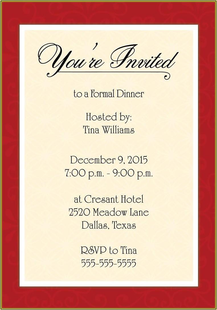 Formal Dinner Invitation Templates Free Download
