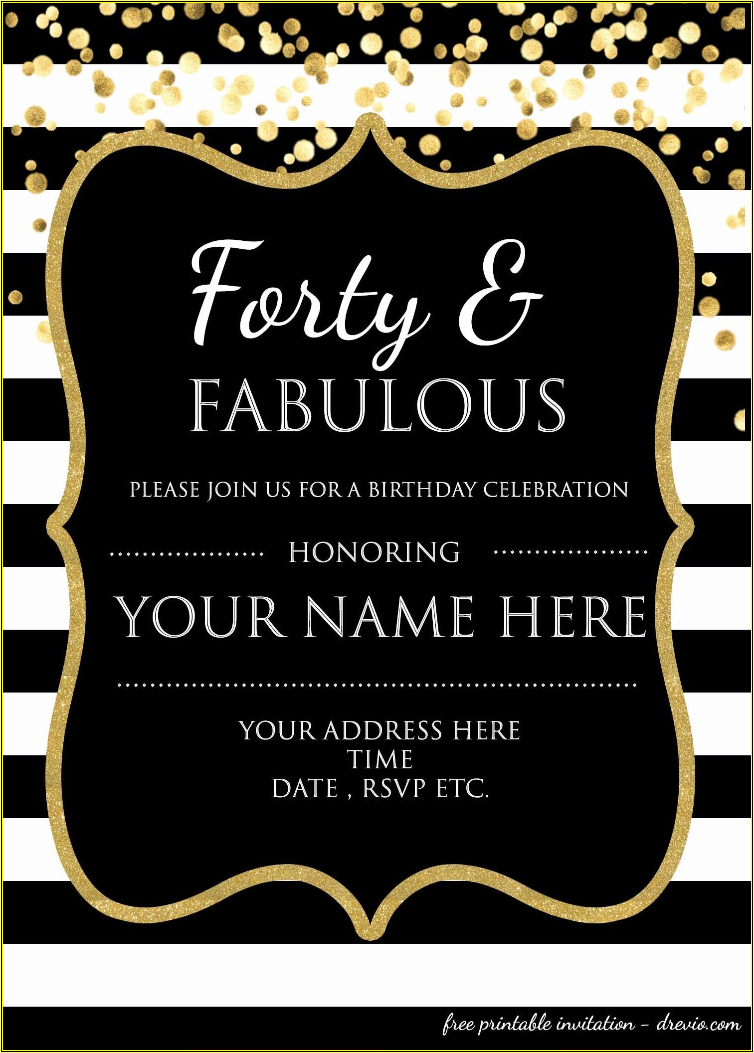 Free 40th Birthday Invitation Templates