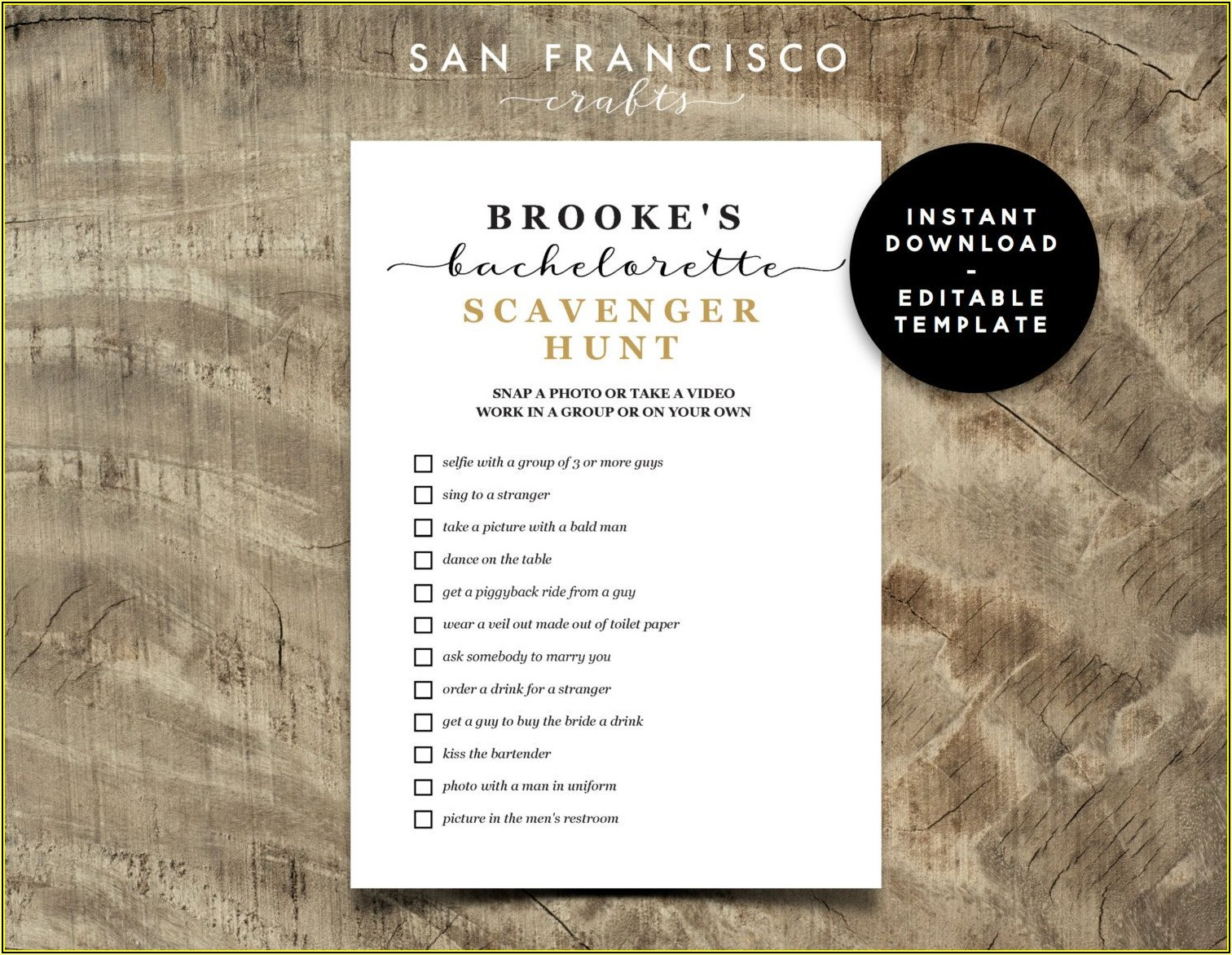 Free Bachelorette Party Scavenger Hunt Template