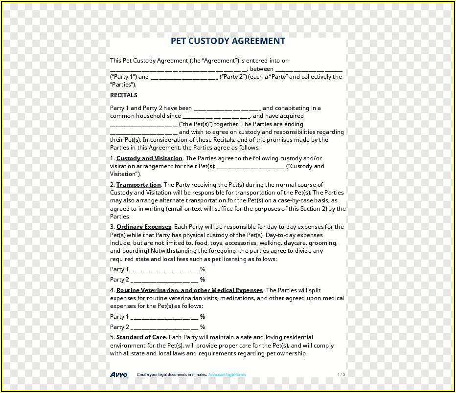 Free Child Support And Visitation Agreement Template