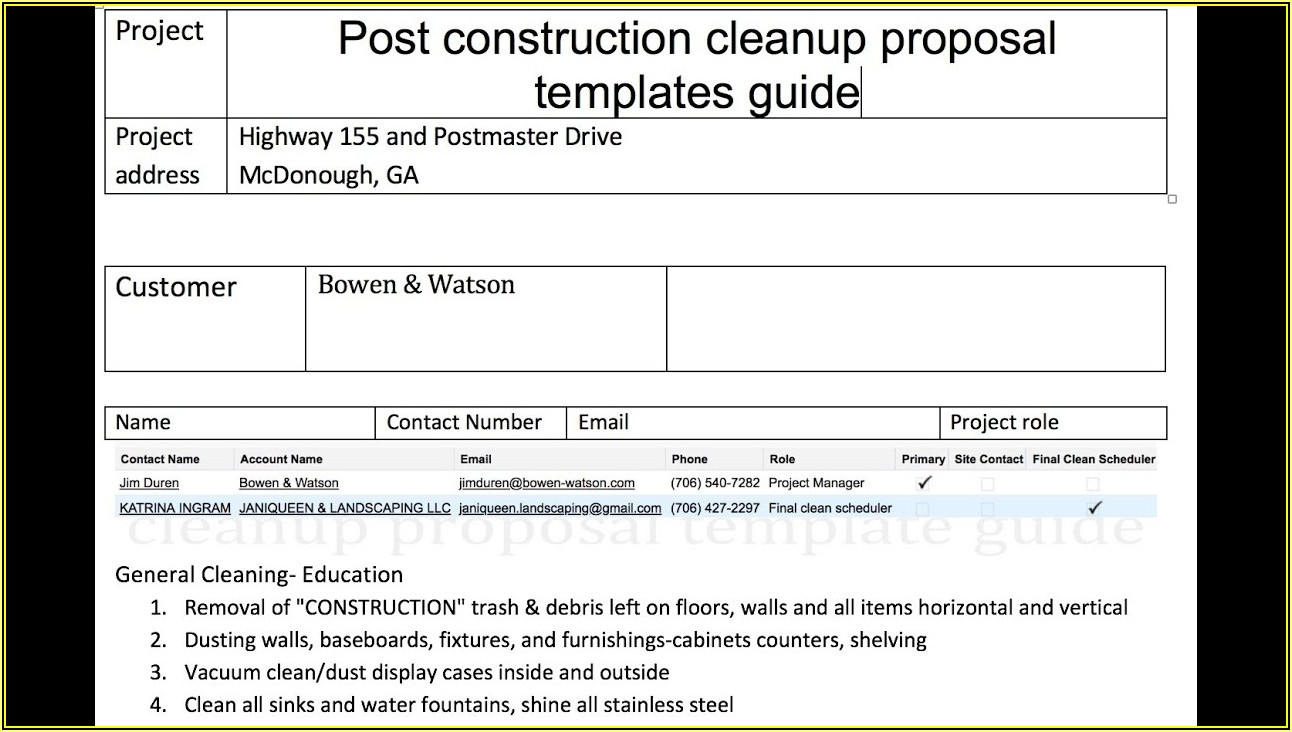 Free Cleaning Proposal Template Pdf