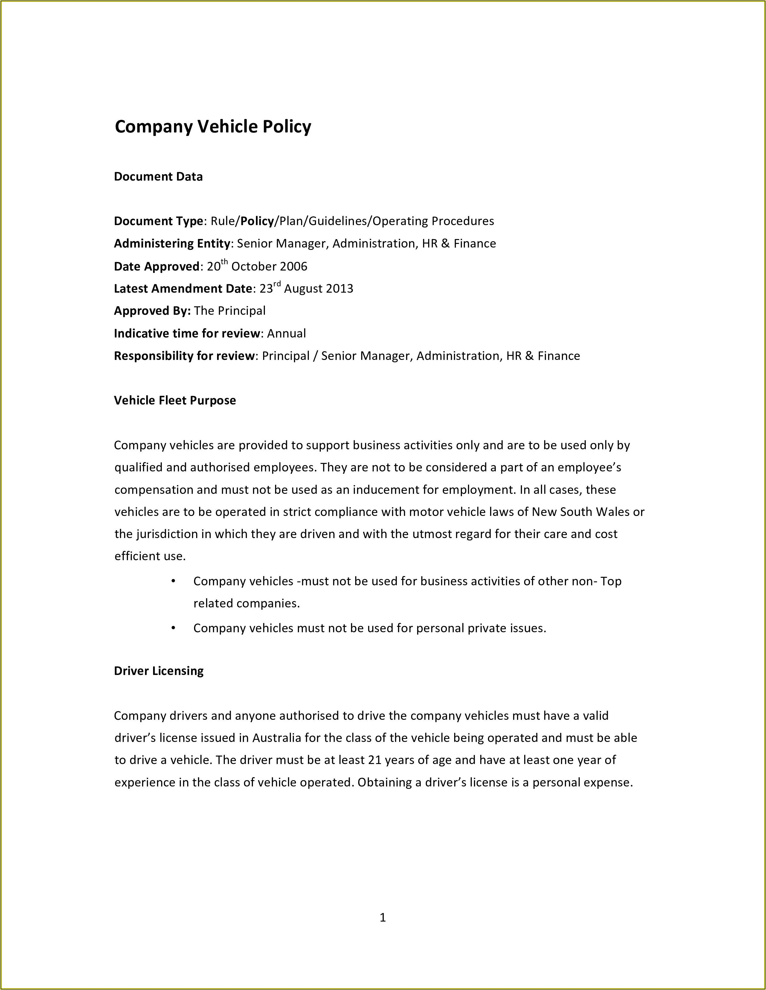 Free Company Policies And Procedures Template Australia