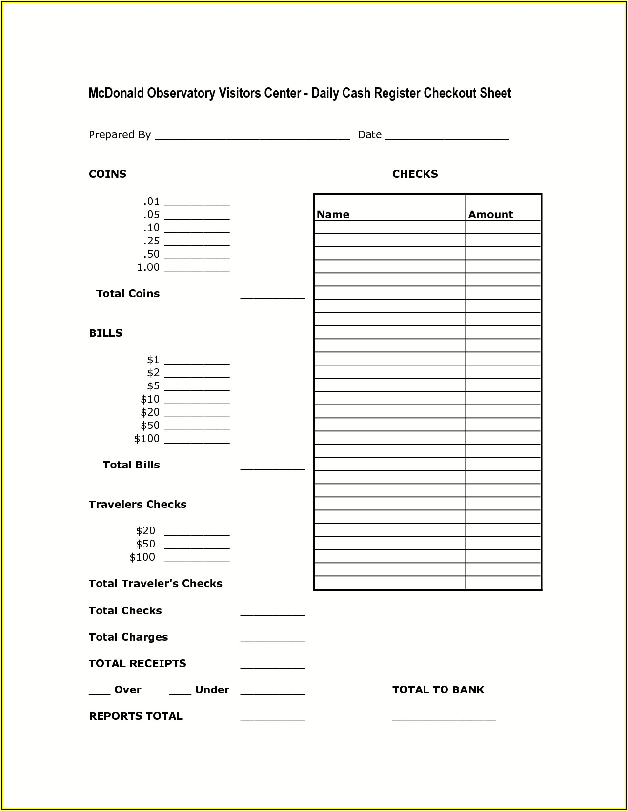 Free Daily Cash Register Balance Sheet Template