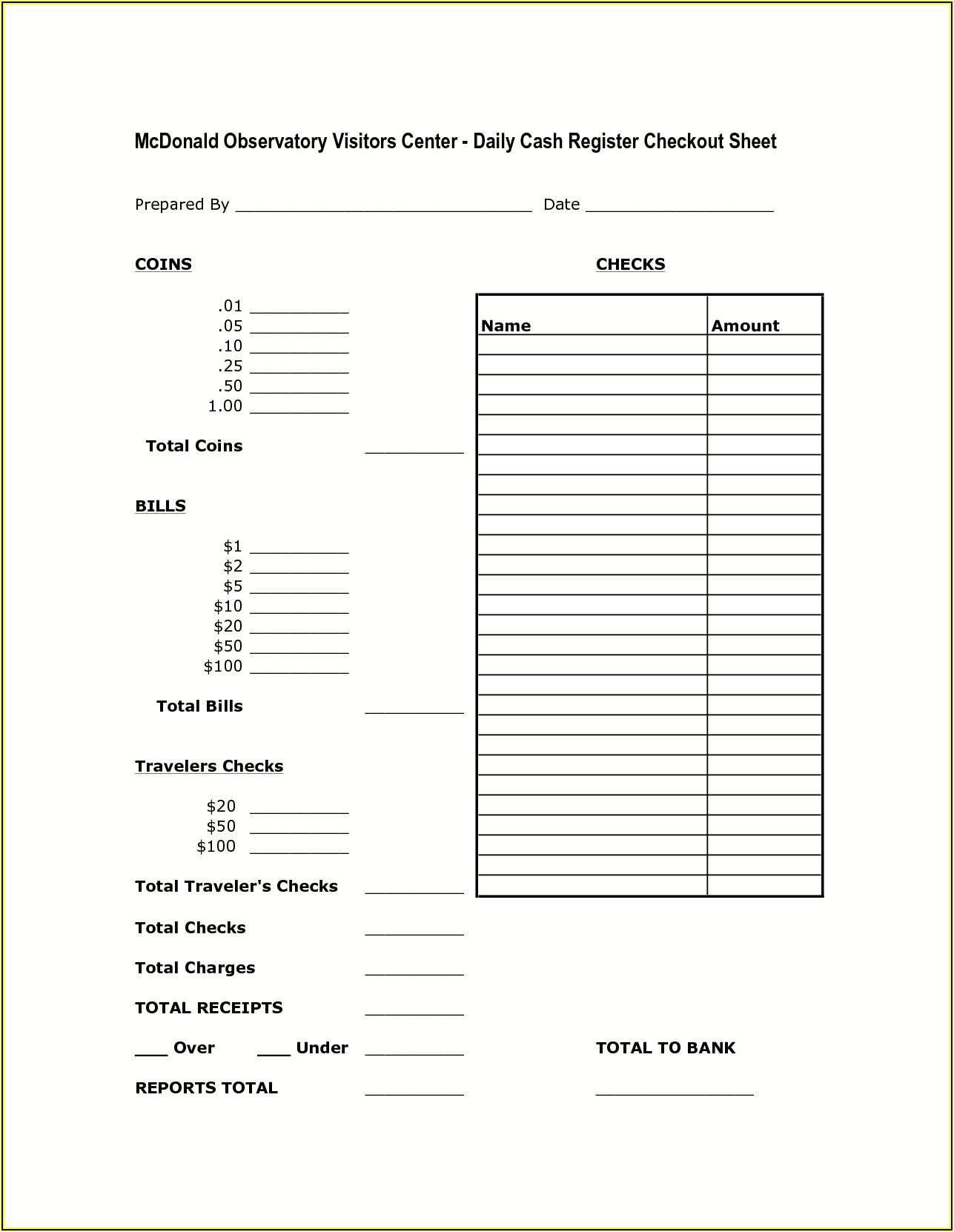 Free Daily Cash Register Balance Sheet Template