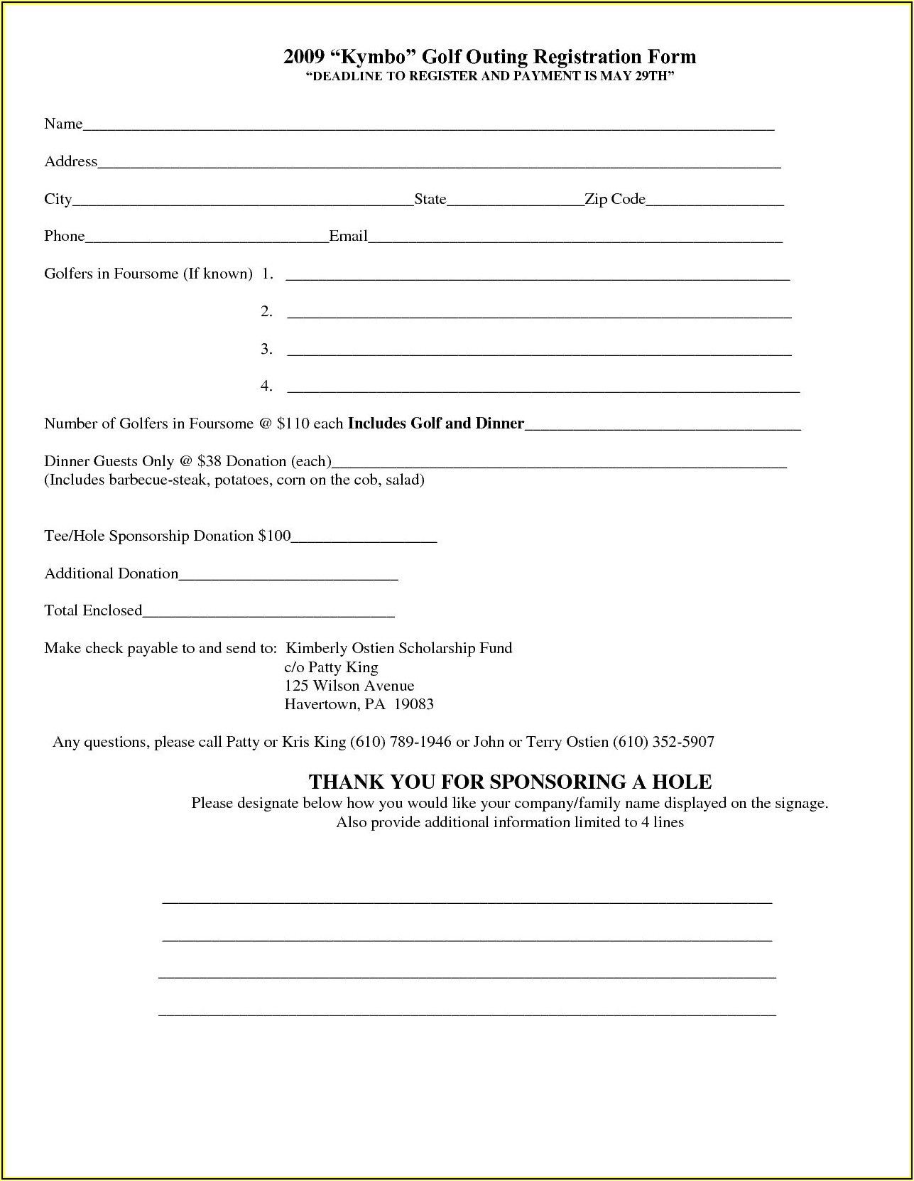 Free Event Registration Form Template Word