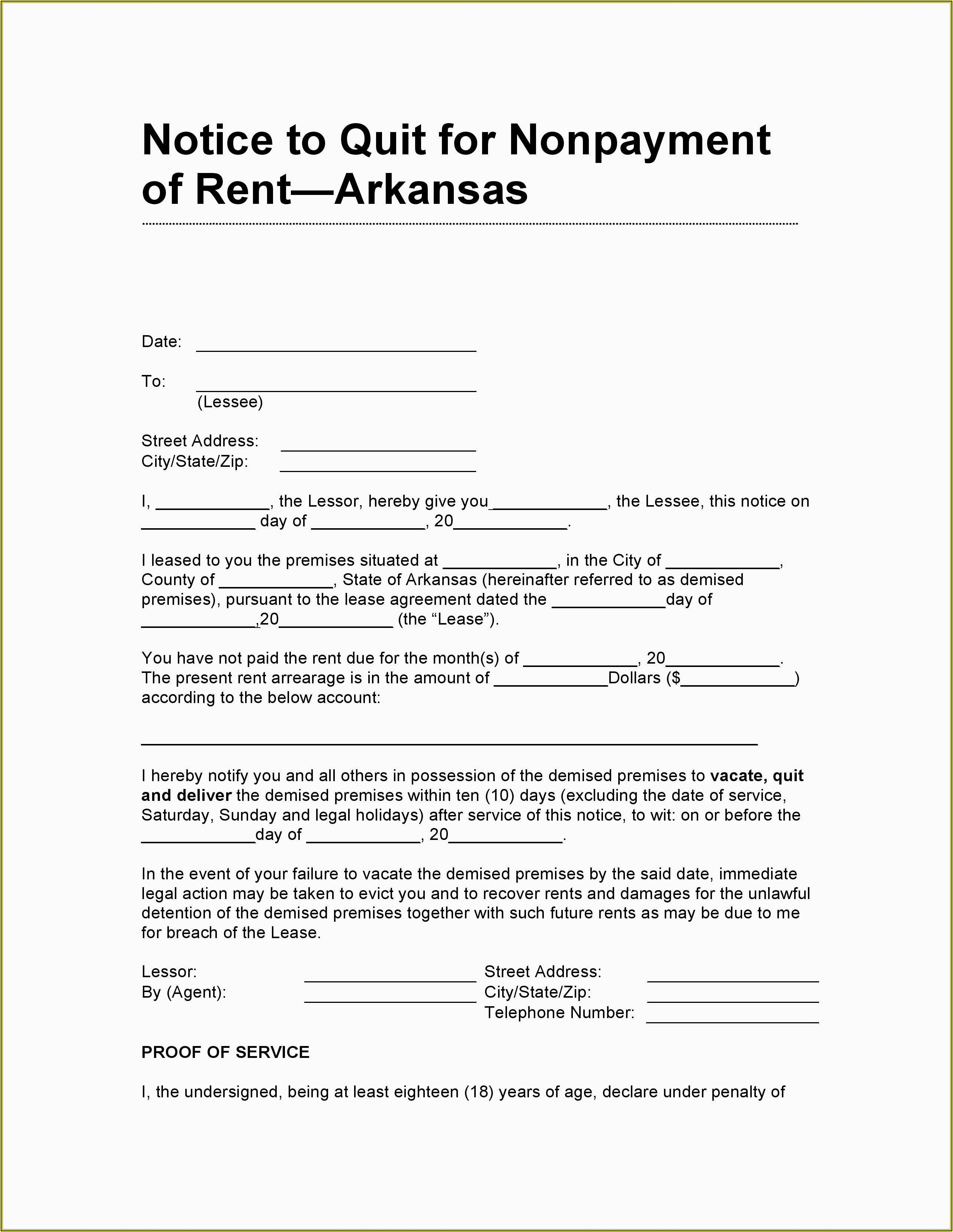 Free Eviction Notice Template Pa