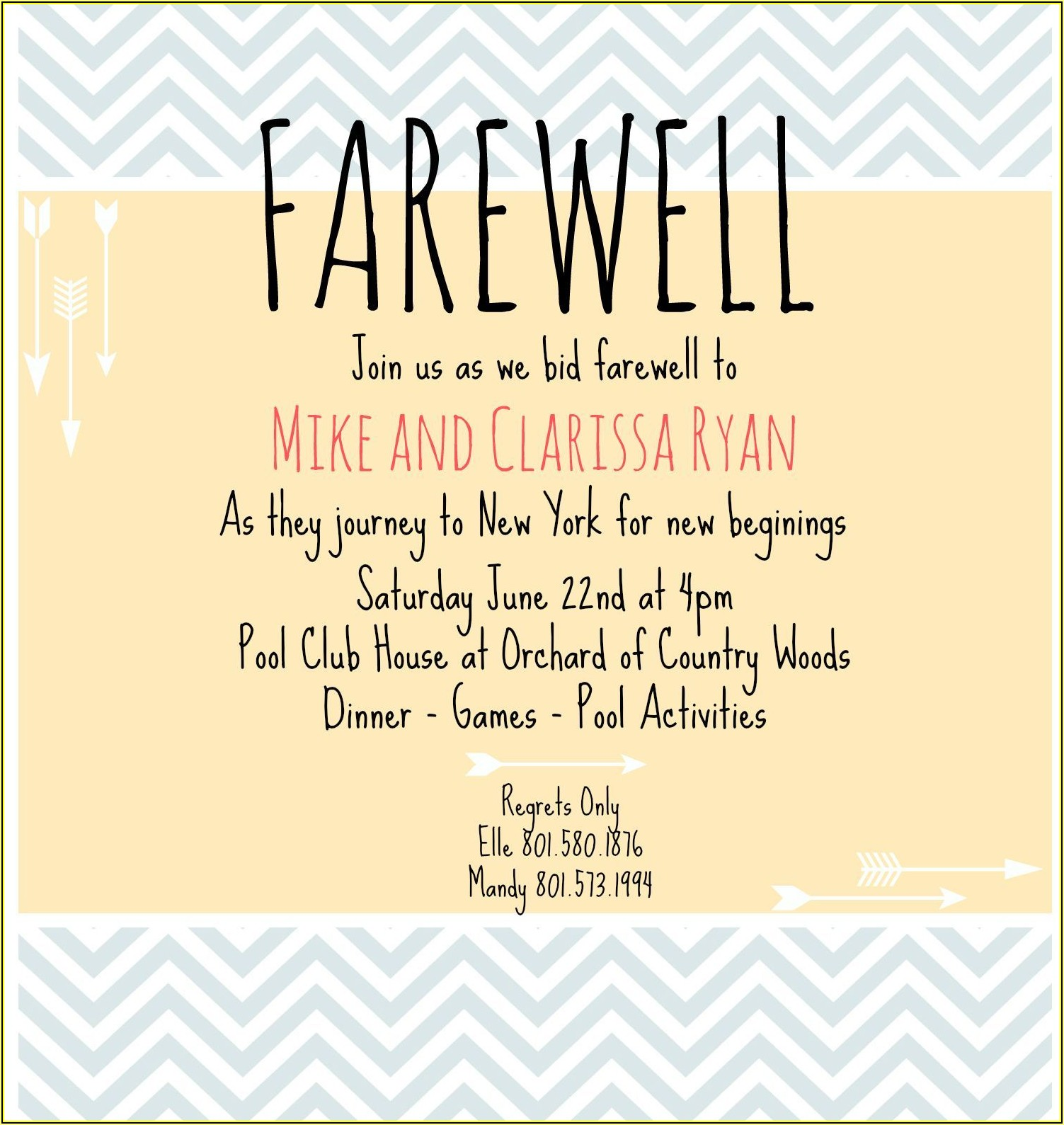 Free Farewell Dinner Invitation Template