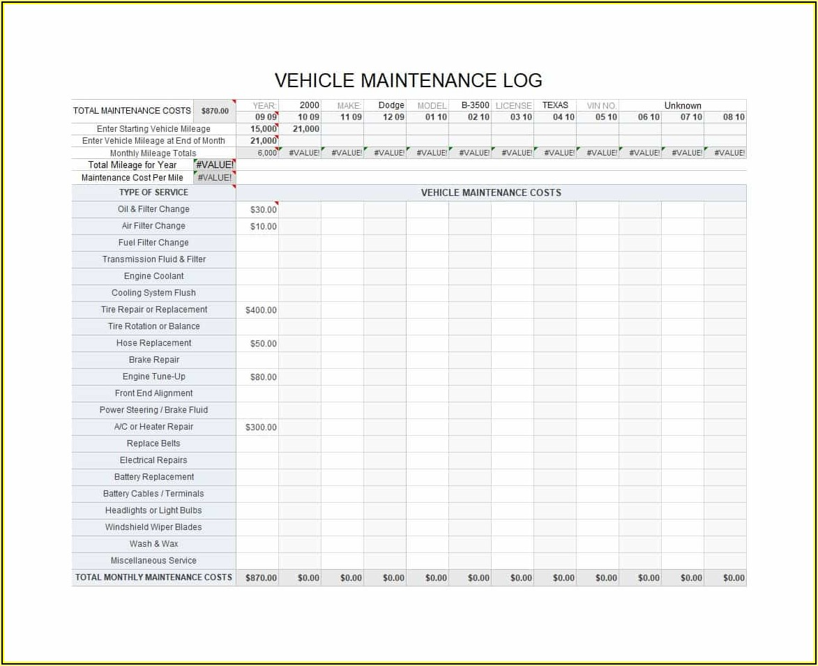 Free Fleet Vehicle Maintenance Log Template