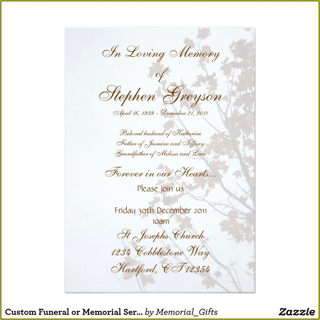 Free Funeral Reception Invitation Template