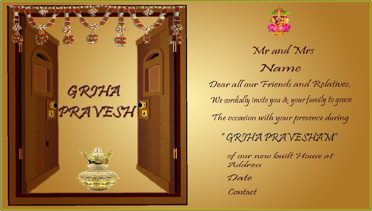 Free Housewarming Invitation Template India
