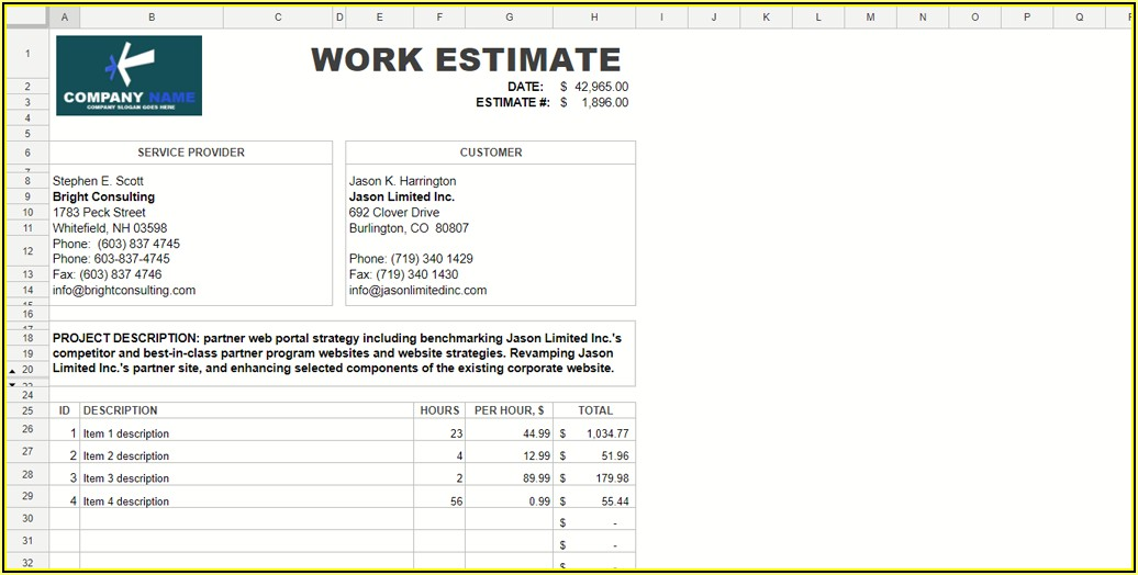 Free Microsoft Word Estimate Template