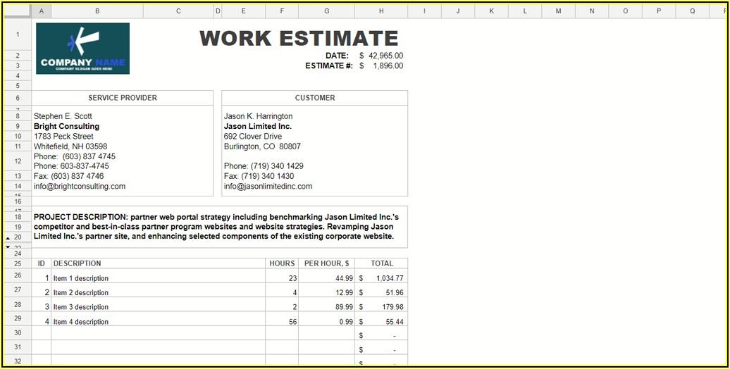 Free Microsoft Word Estimate Template