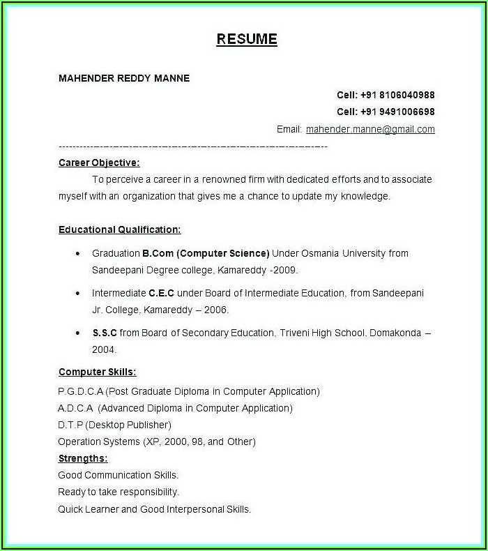 Resume Format Free Download In Ms Word 2007 For Experienced