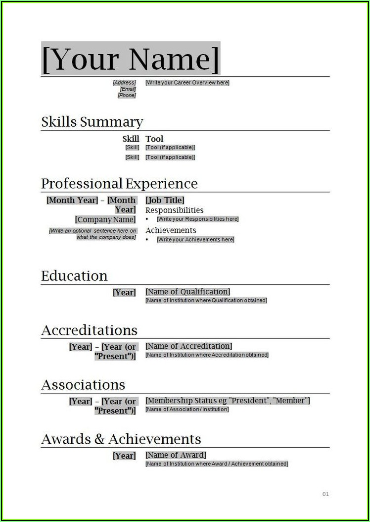 Resume Format In Microsoft Word Free Download