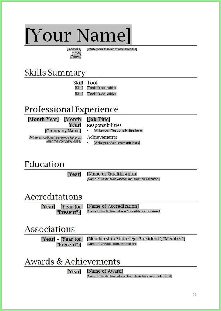 Resume Format In Microsoft Word Free Download