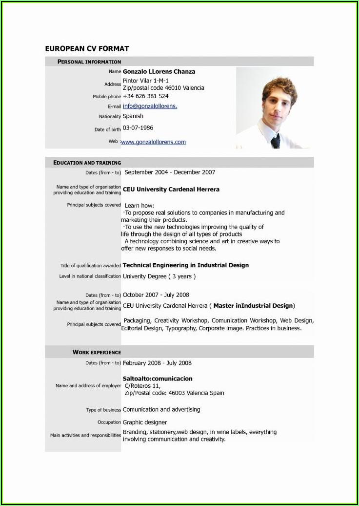 Resume Format Template Pdf Download