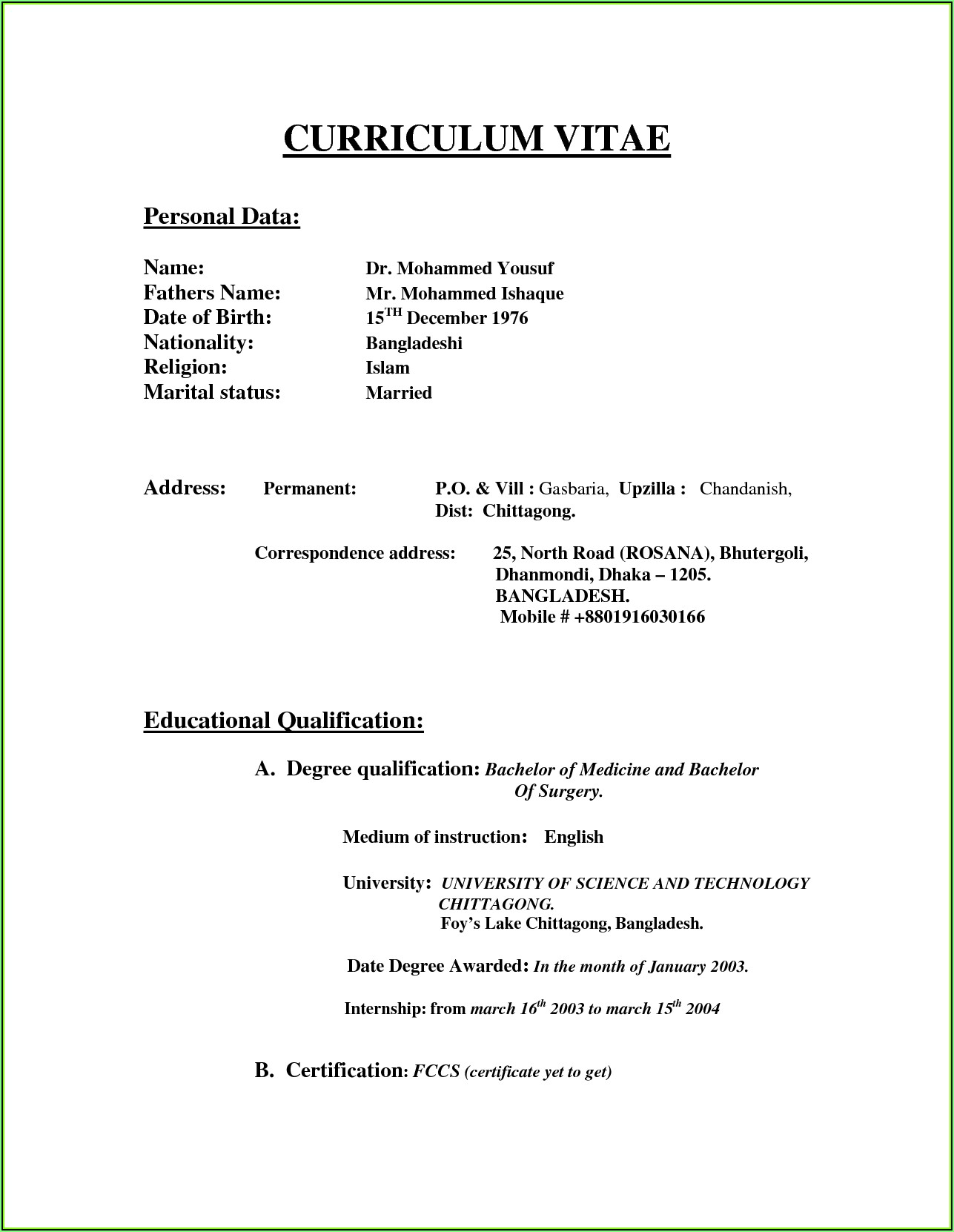 Resume Models Free Download Doc