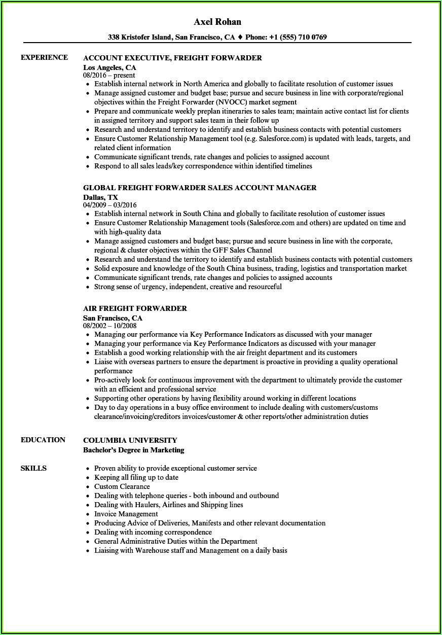 Resume Objective For Freight Forwarding Company