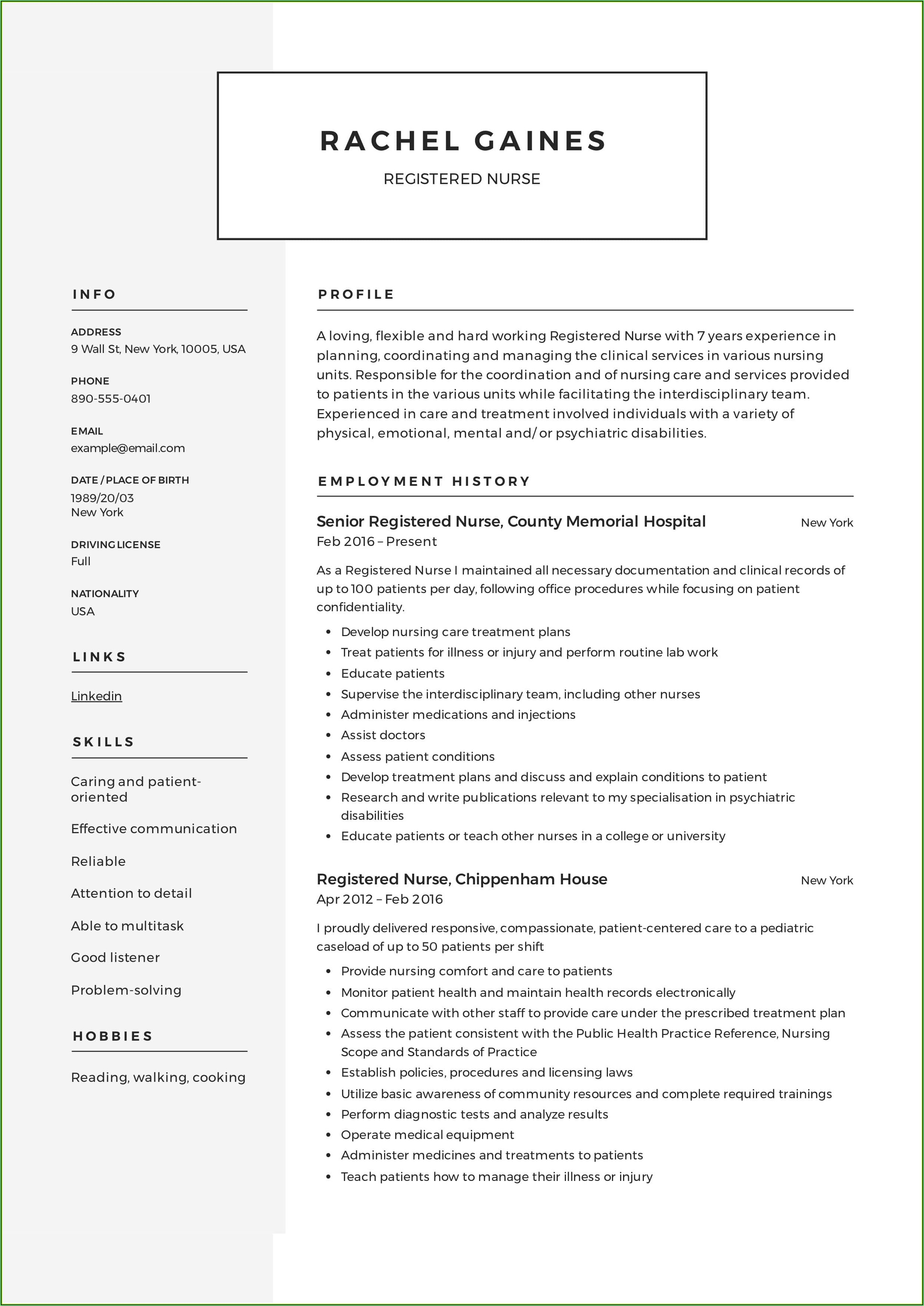 Resume Registered Nurse Sample