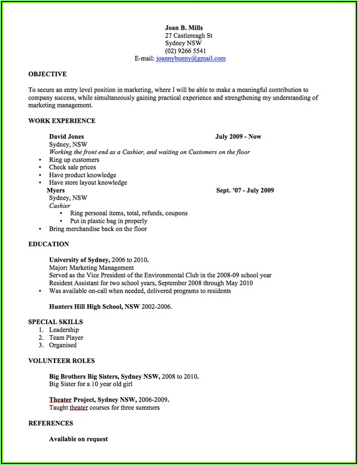 Resume Sample Australia Style